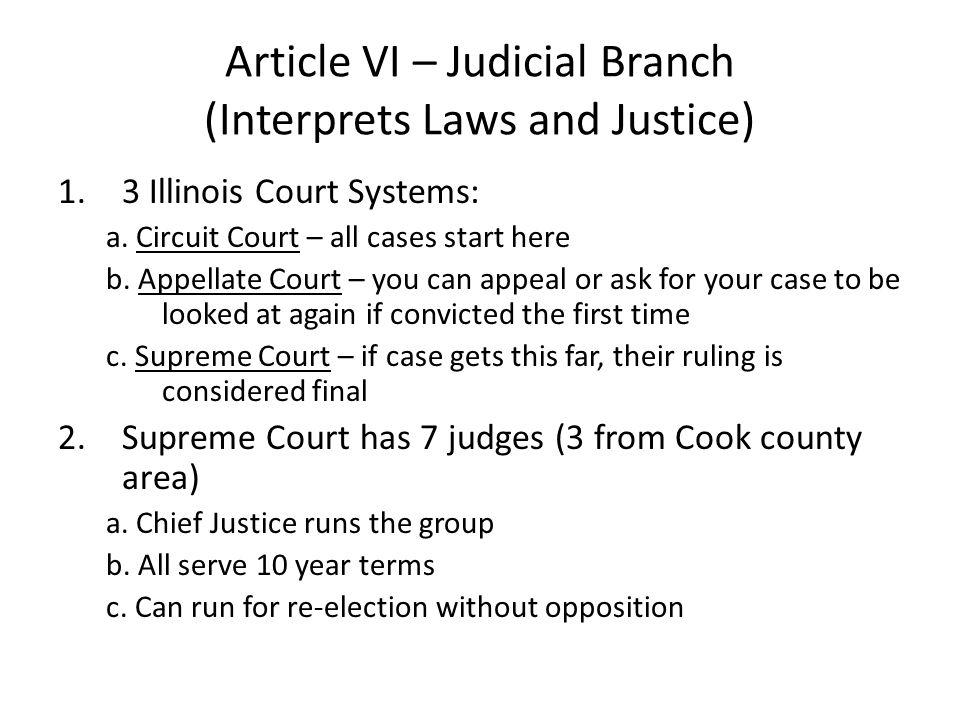 Article VI – Judicial Branch (Interprets Laws and Justice)
