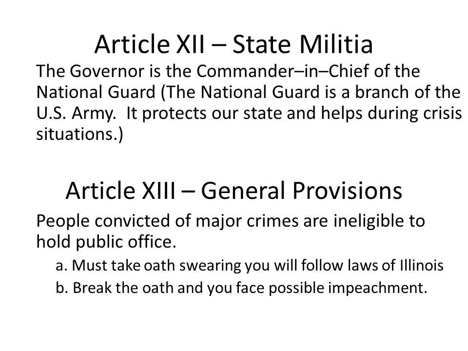 Article XII – State Militia