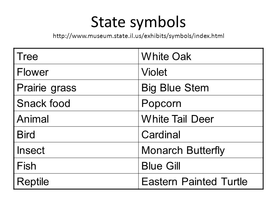 State symbols http://www. museum. state. il. us/exhibits/symbols/index