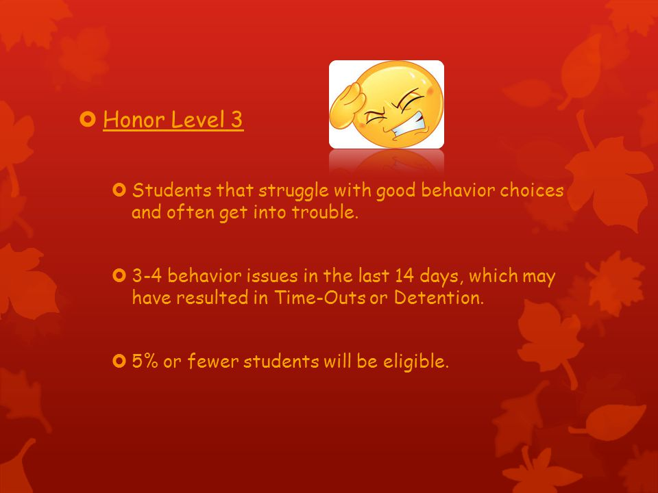 Honor Level 3 Students that struggle with good behavior choices and often get into trouble.