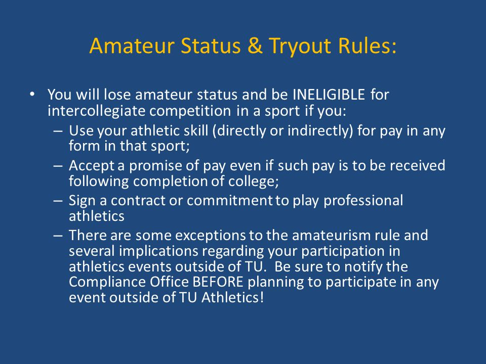 Amateur Status & Tryout Rules: