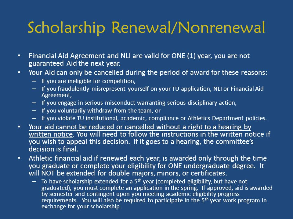 Scholarship Renewal/Nonrenewal