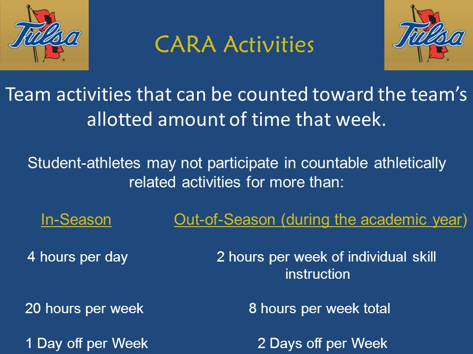 CARA Activities Team activities that can be counted toward the team's allotted amount of time that week.