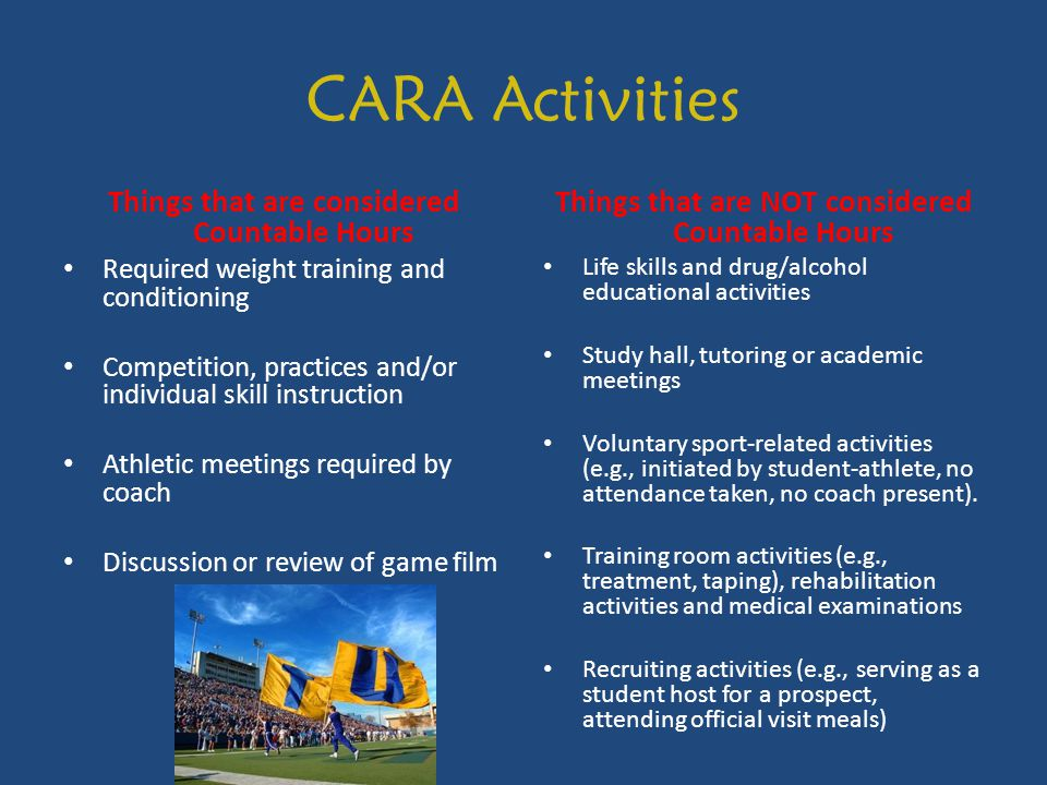 CARA Activities Things that are considered Countable Hours