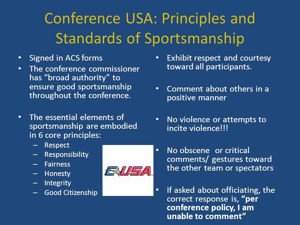 Conference USA: Principles and Standards of Sportsmanship