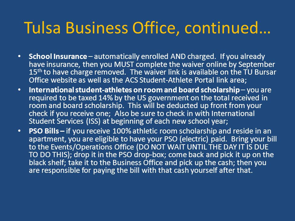 Tulsa Business Office, continued…