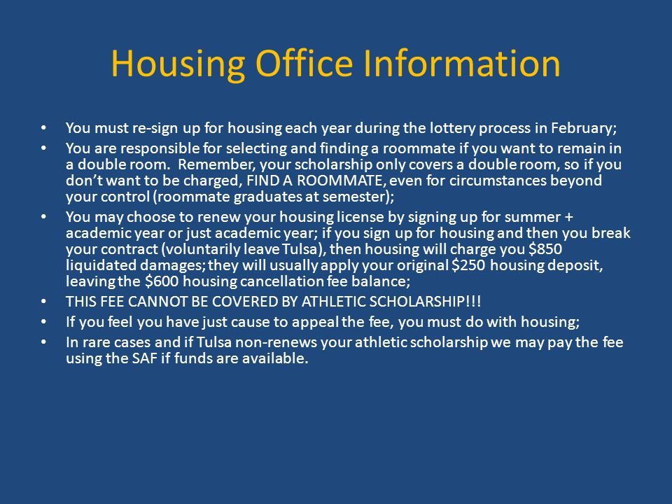 Housing Office Information