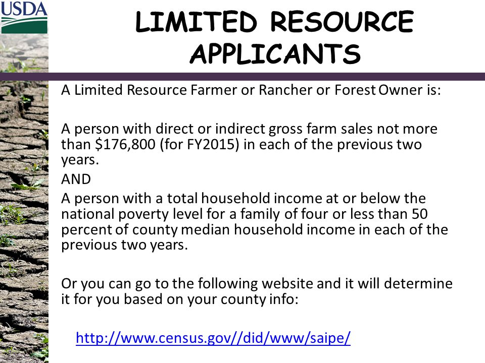 LIMITED RESOURCE APPLICANTS