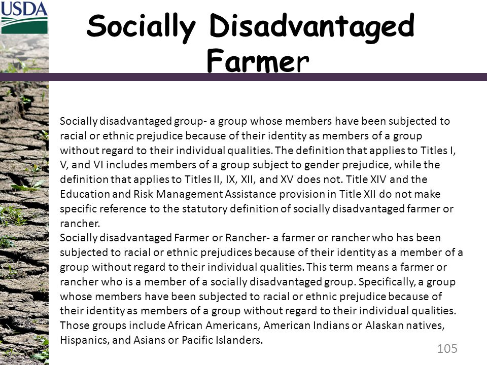 Socially Disadvantaged Farmer