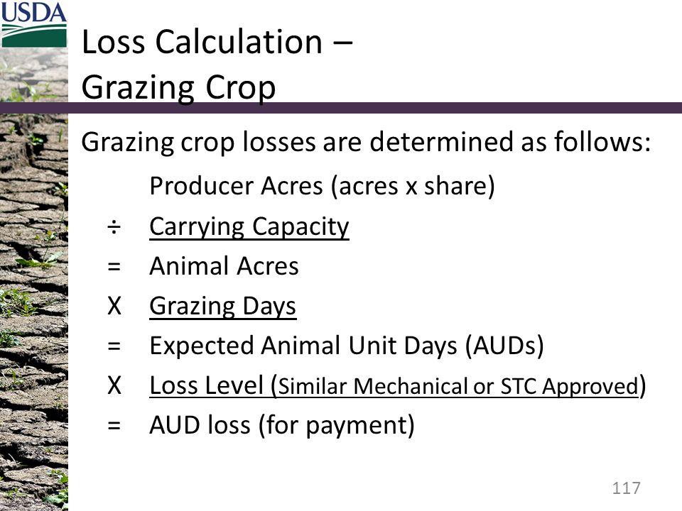 Loss Calculation – Grazing Crop