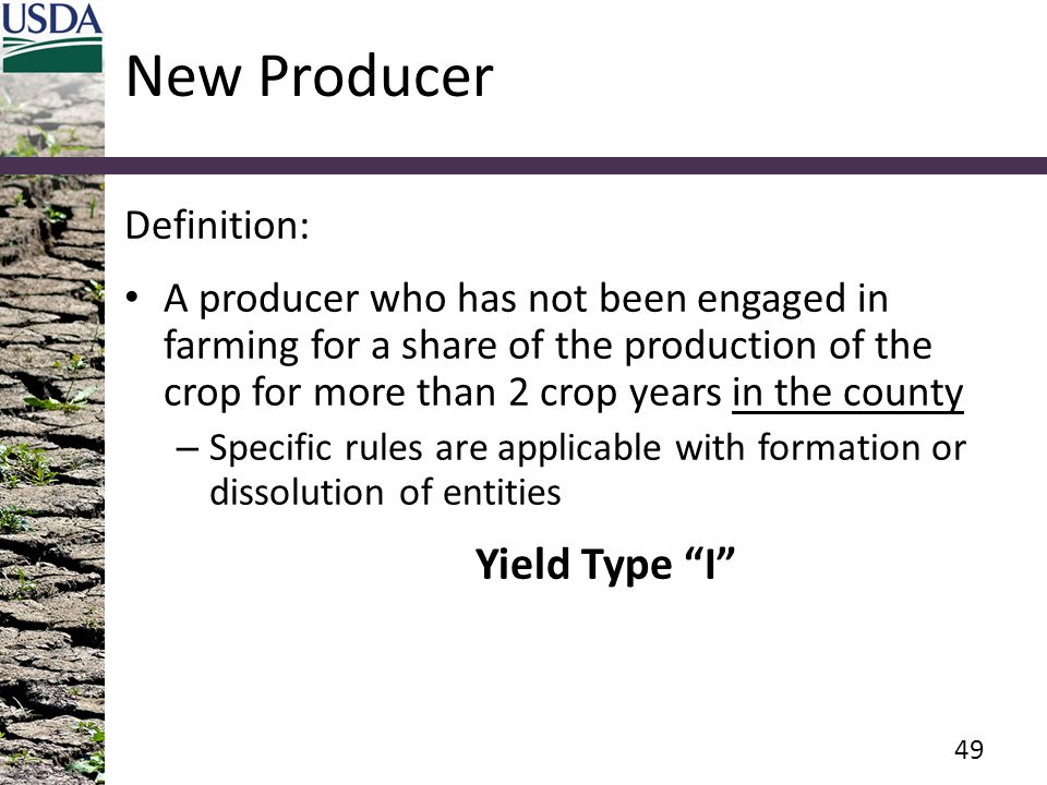 New Producer Yield Type I Definition: