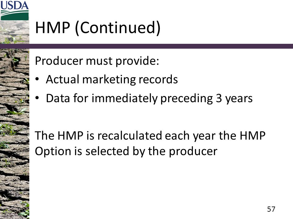 HMP (Continued) Producer must provide: Actual marketing records