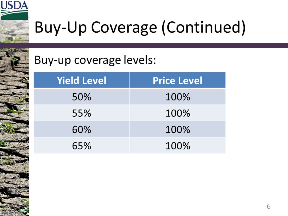 Buy-Up Coverage (Continued)