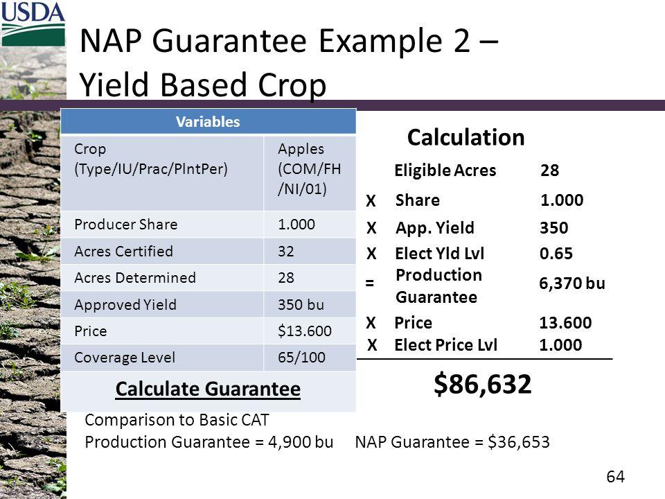 NAP Guarantee Example 2 – Yield Based Crop