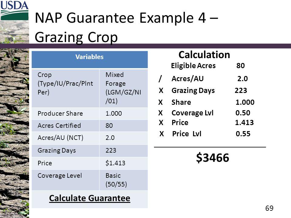 NAP Guarantee Example 4 – Grazing Crop