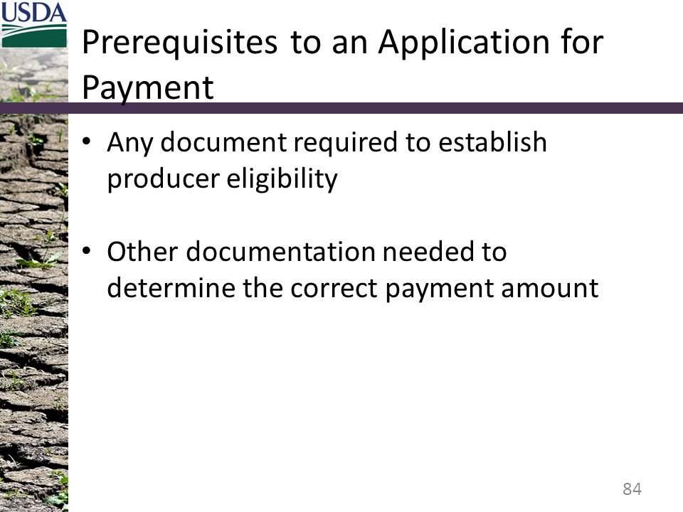 Prerequisites to an Application for Payment