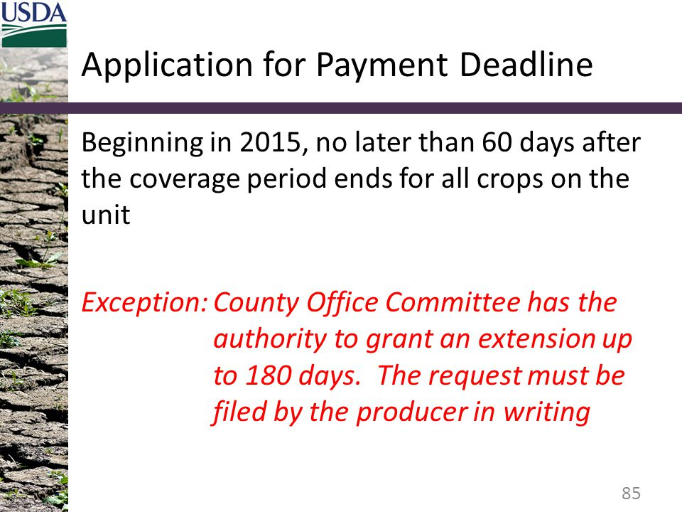 Application for Payment Deadline