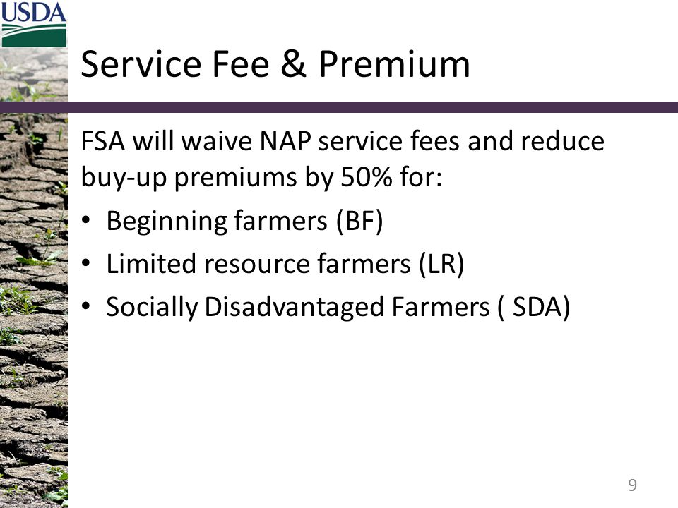 Service Fee & Premium FSA will waive NAP service fees and reduce buy-up premiums by 50% for: Beginning farmers (BF)