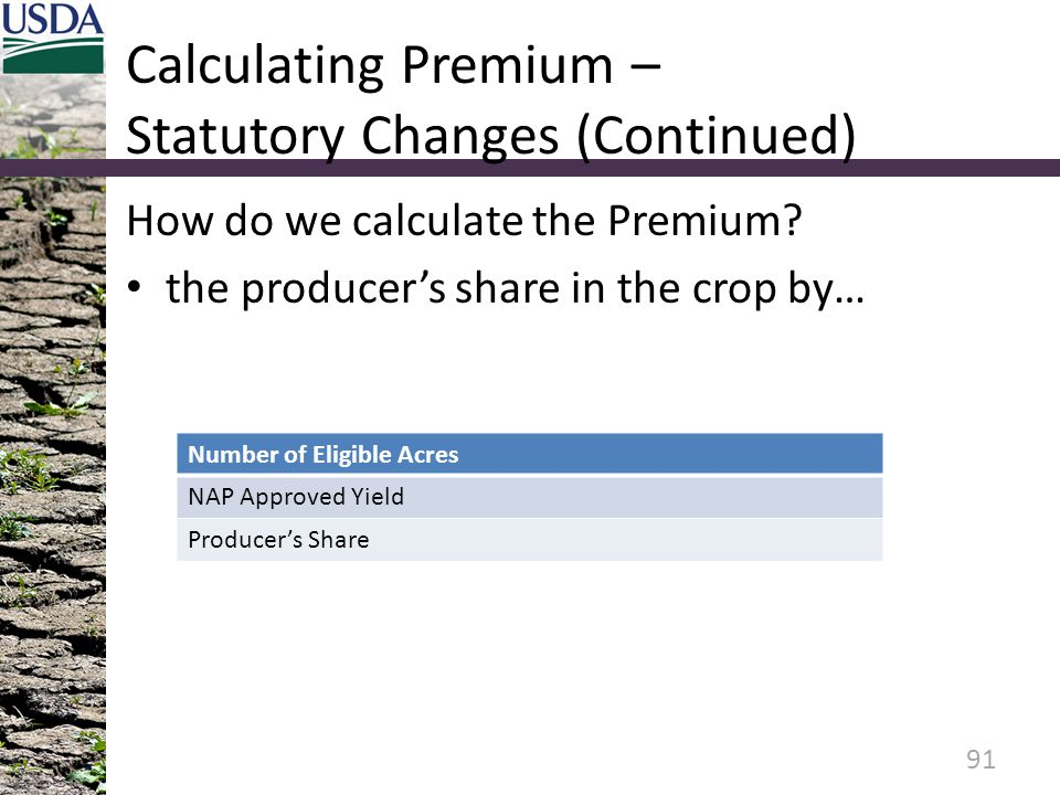 Calculating Premium – Statutory Changes (Continued)