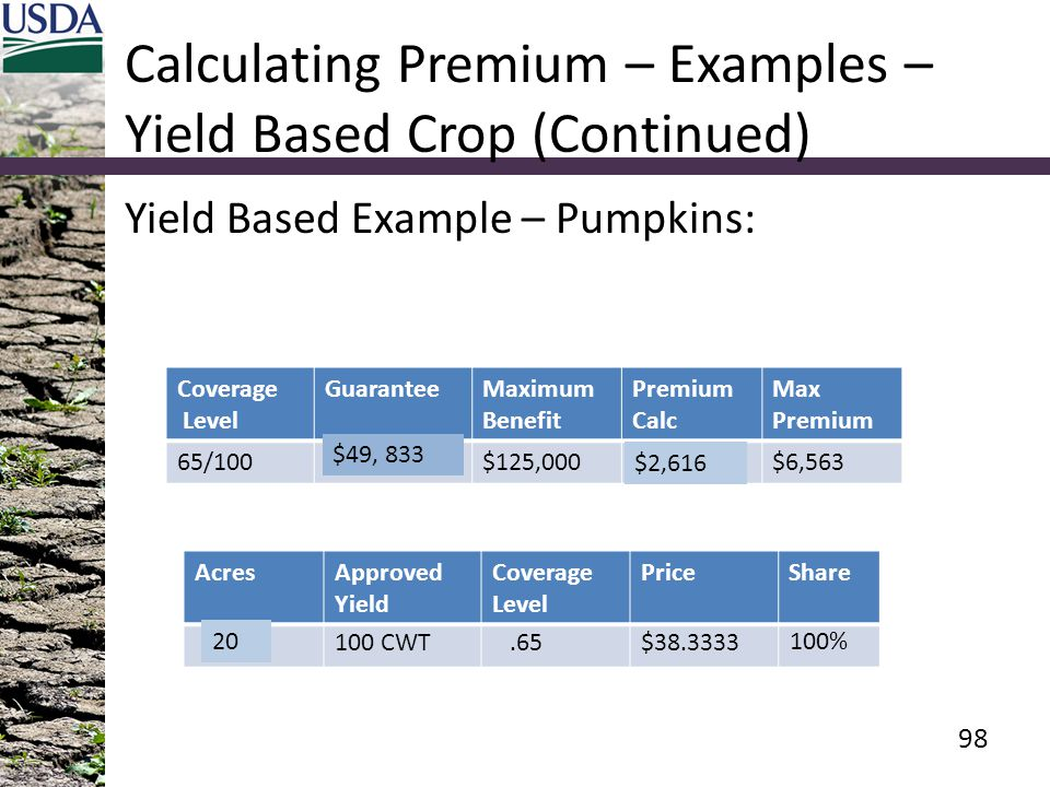 Calculating Premium – Examples – Yield Based Crop (Continued)