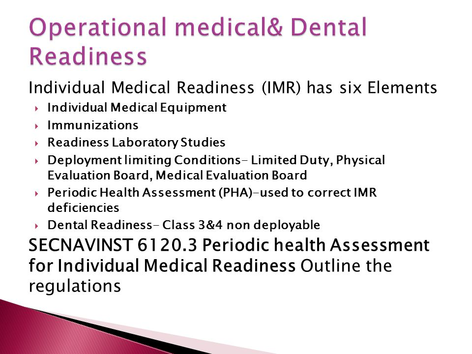 Operational medical& Dental Readiness