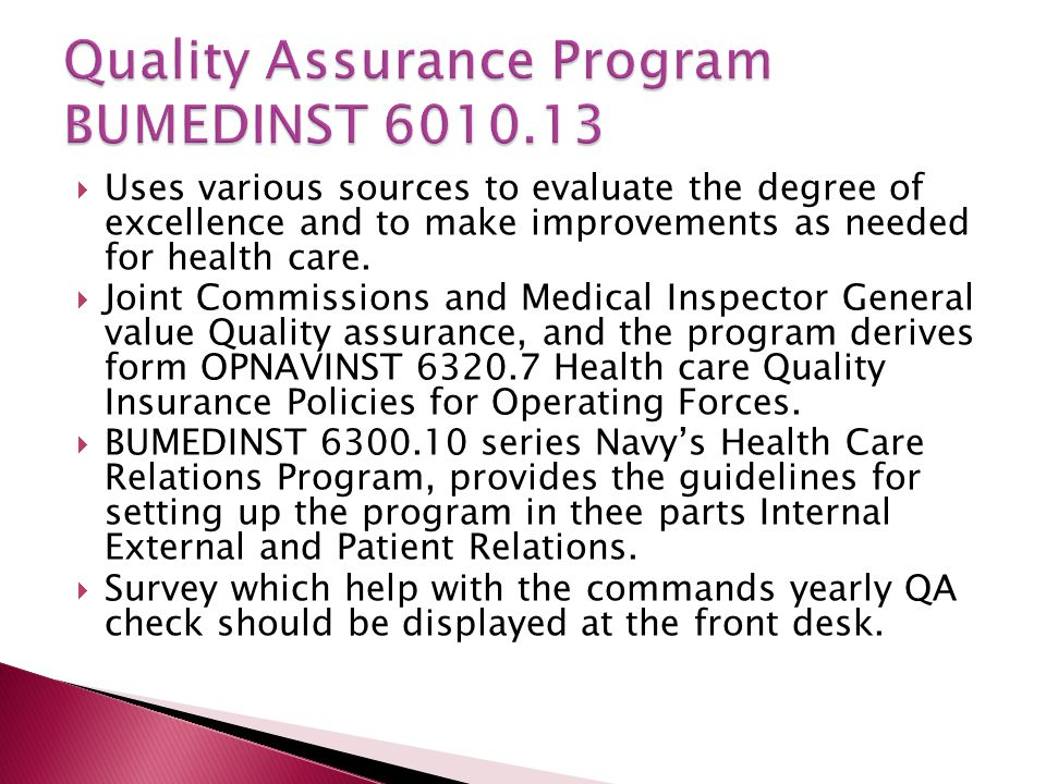 Quality Assurance Program BUMEDINST 6010.13
