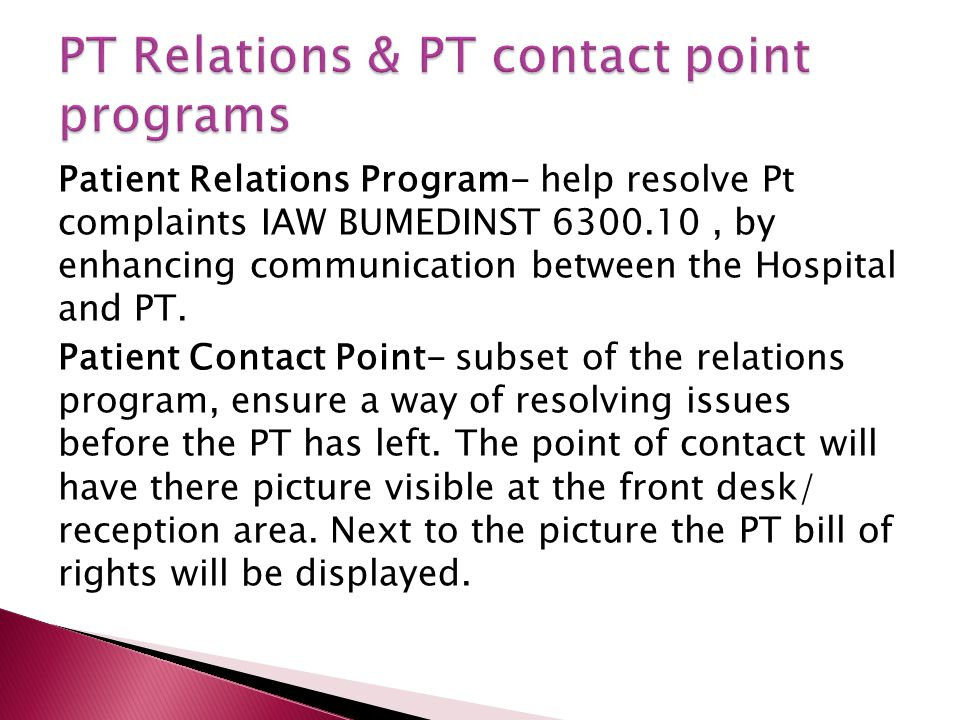 PT Relations & PT contact point programs