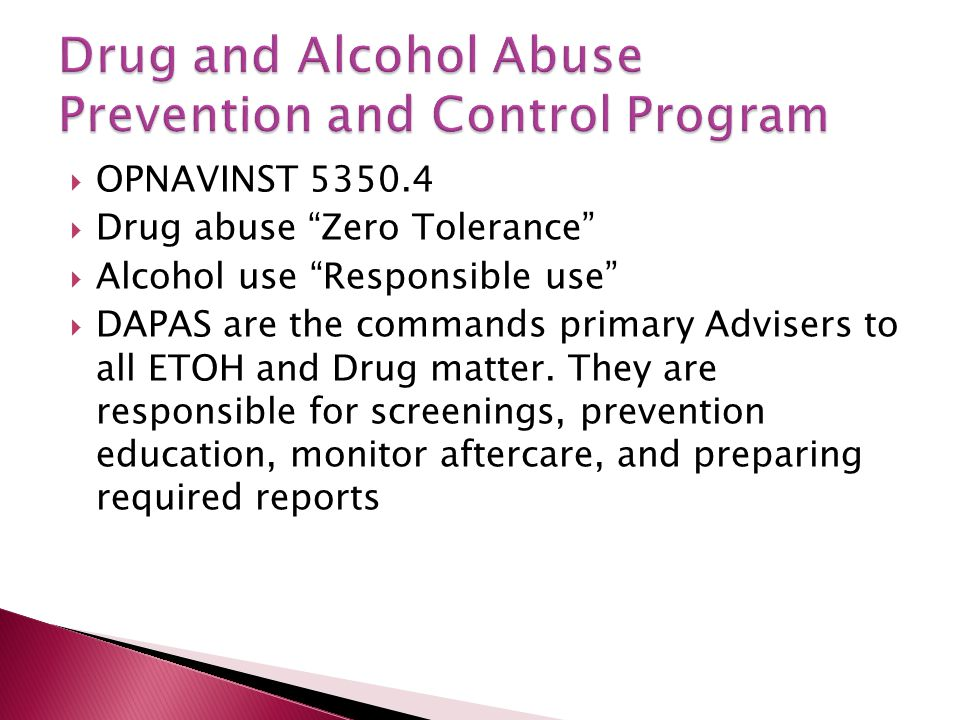 Drug and Alcohol Abuse Prevention and Control Program