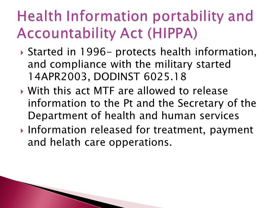 Health Information portability and Accountability Act (HIPPA)