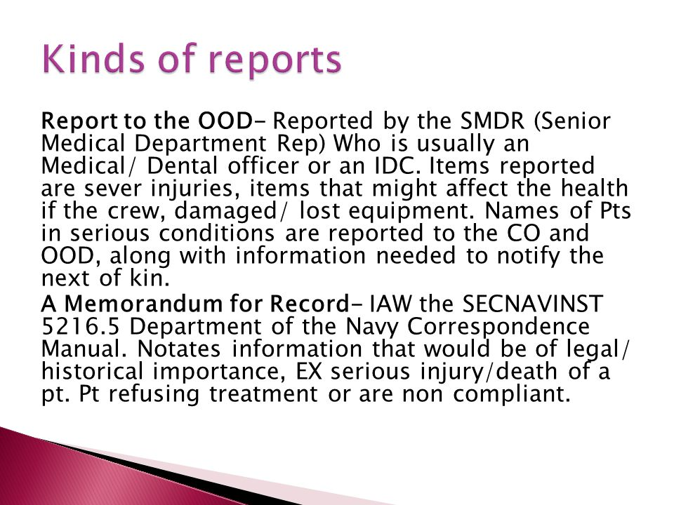 Kinds of reports