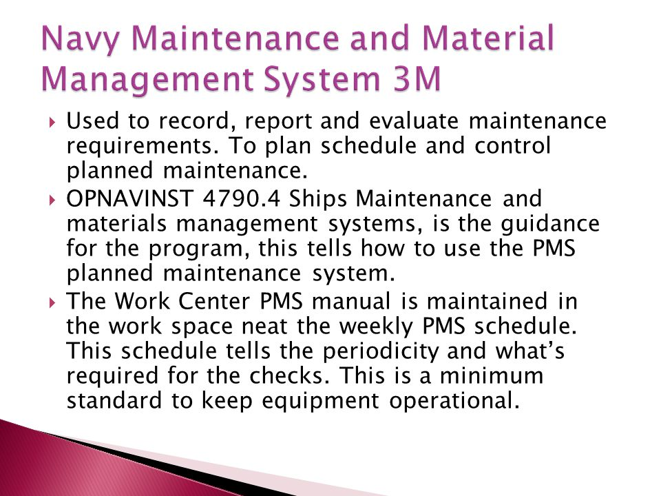 Navy Maintenance and Material Management System 3M