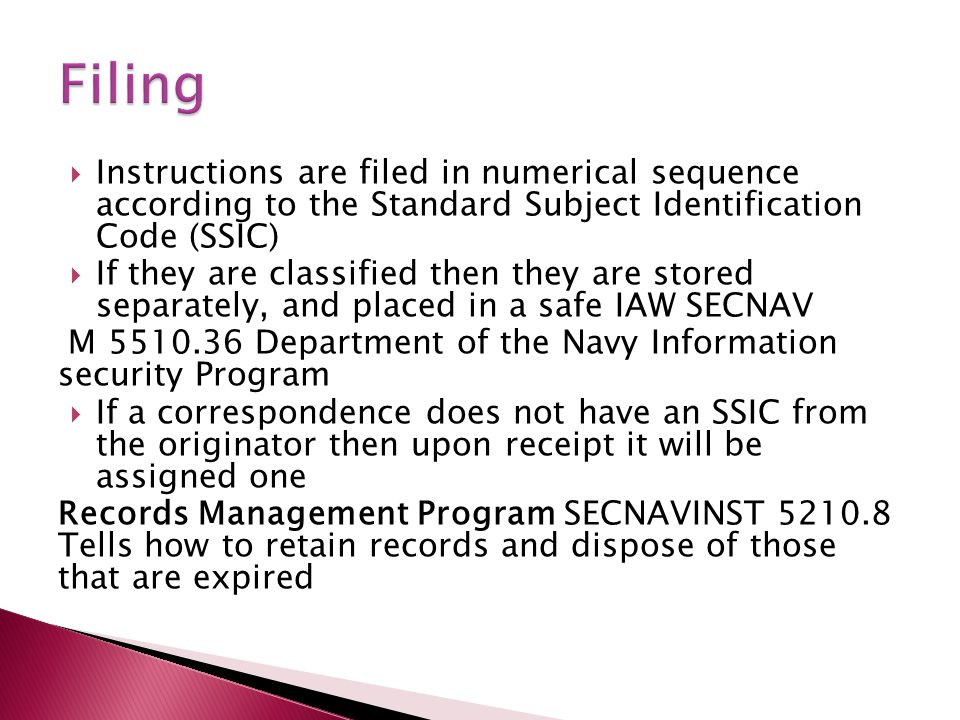 Filing Instructions are filed in numerical sequence according to the Standard Subject Identification Code (SSIC)