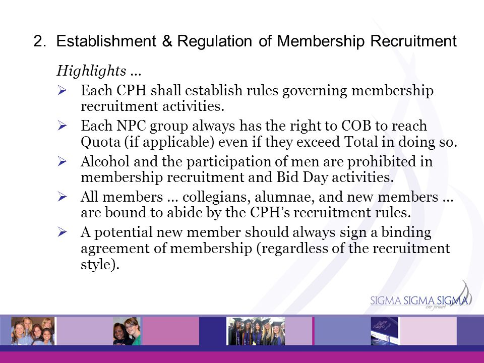 2. Establishment & Regulation of Membership Recruitment