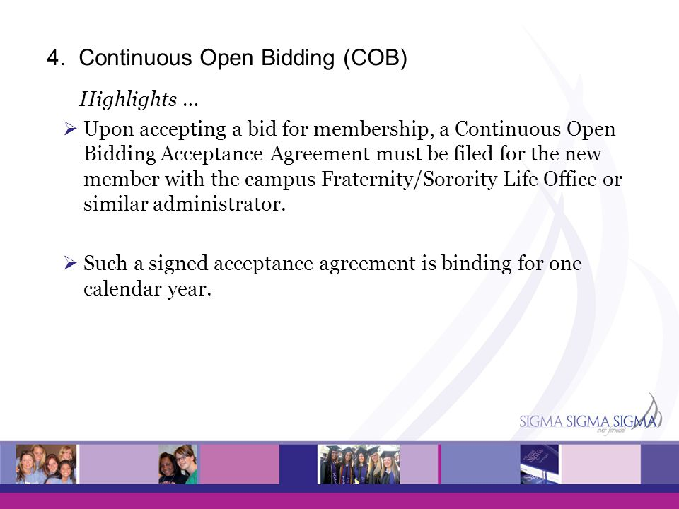 4. Continuous Open Bidding (COB)