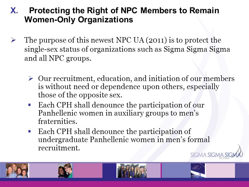 Protecting the Right of NPC Members to Remain Women-Only Organizations