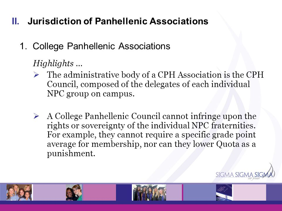 Jurisdiction of Panhellenic Associations