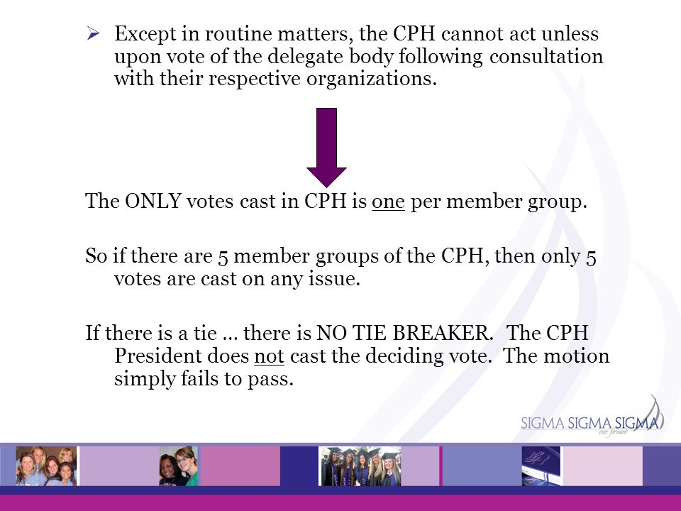 The ONLY votes cast in CPH is one per member group.