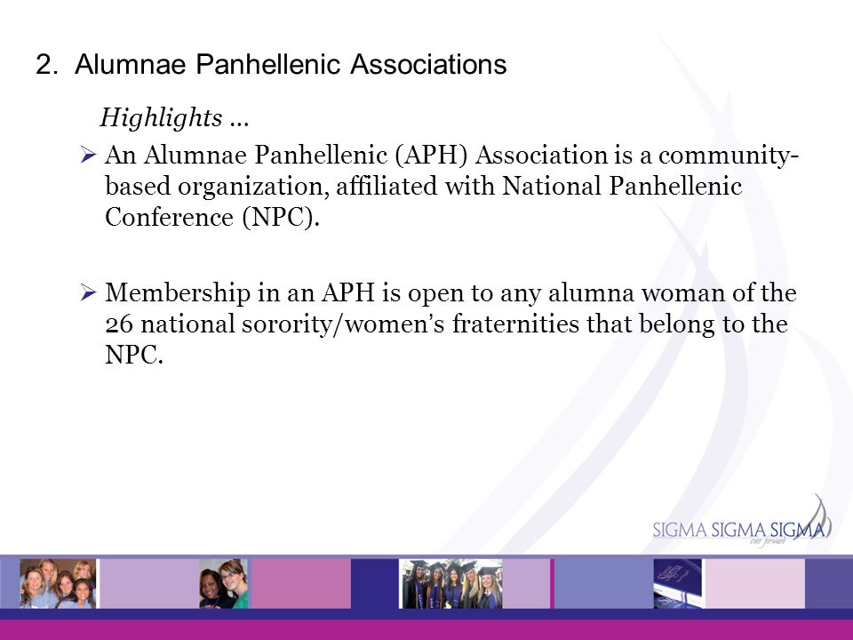 2. Alumnae Panhellenic Associations