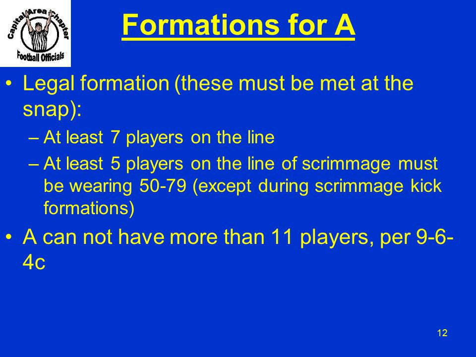 Formations for A Legal formation (these must be met at the snap):