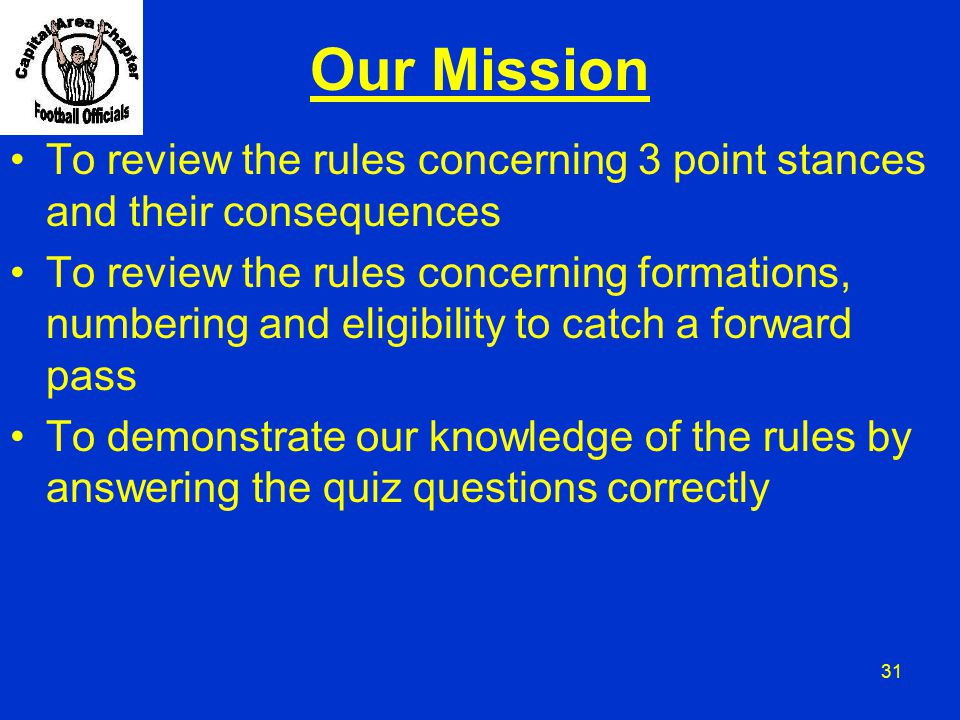Our Mission To review the rules concerning 3 point stances and their consequences.