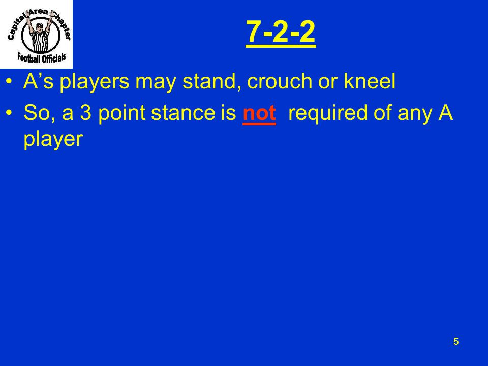 7-2-2 A's players may stand, crouch or kneel