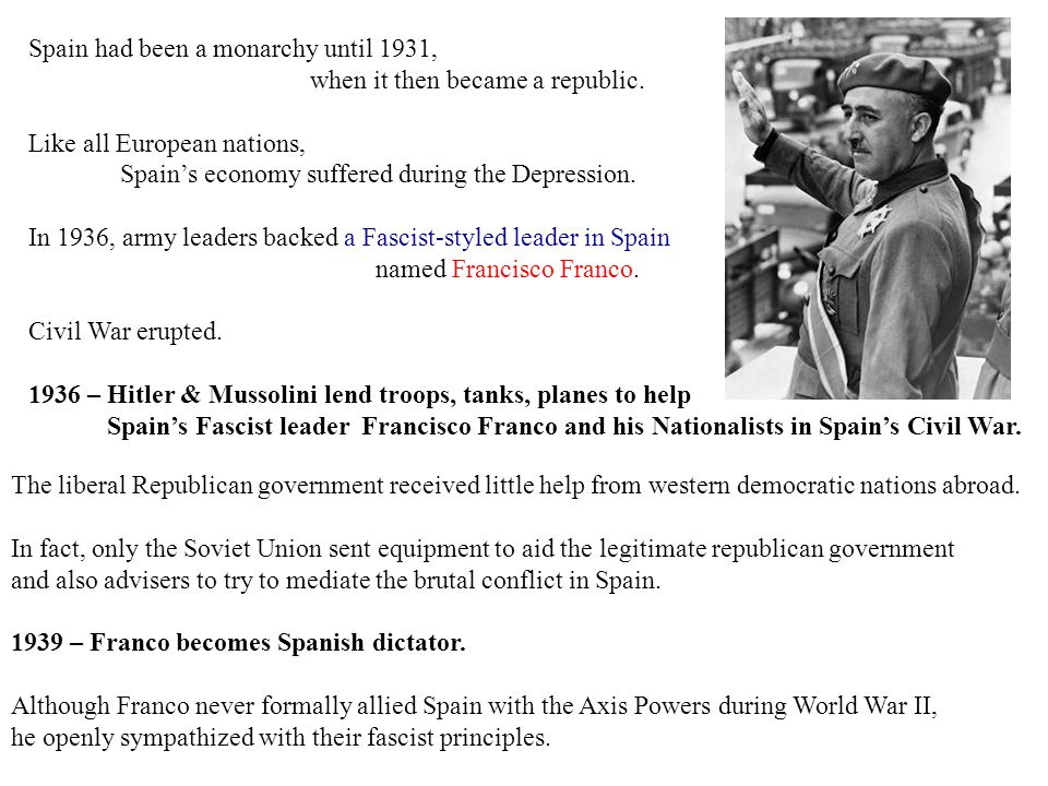 Spain had been a monarchy until 1931,