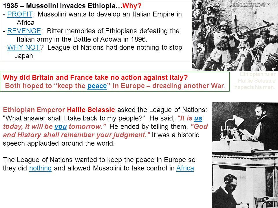 1935 – Mussolini invades Ethiopia…Why