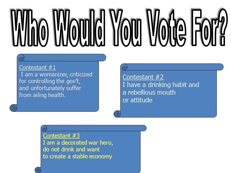 Who Would You Vote For Contestant #1 I am a womanizer, criticized. for controlling the gov't, and unfortunately suffer from ailing health.