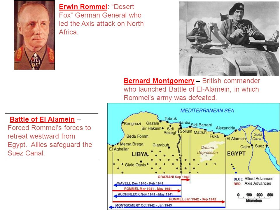 Erwin Rommel: Desert Fox German General who led the Axis attack on North Africa.