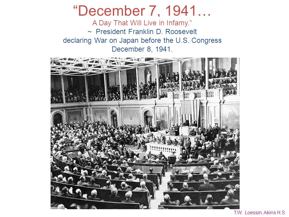December 7, 1941… A Day That Will Live in Infamy.
