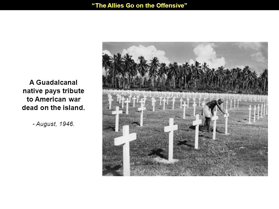 A Guadalcanal native pays tribute to American war dead on the island.