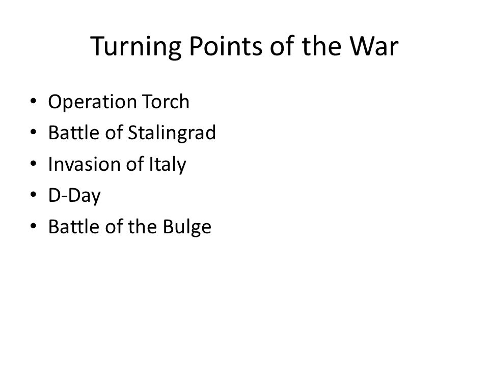 turning points of world war i Extracts from this document introduction what was the most significant turning point of world war ii words: 836 [1] operation barbarossa german offensive.