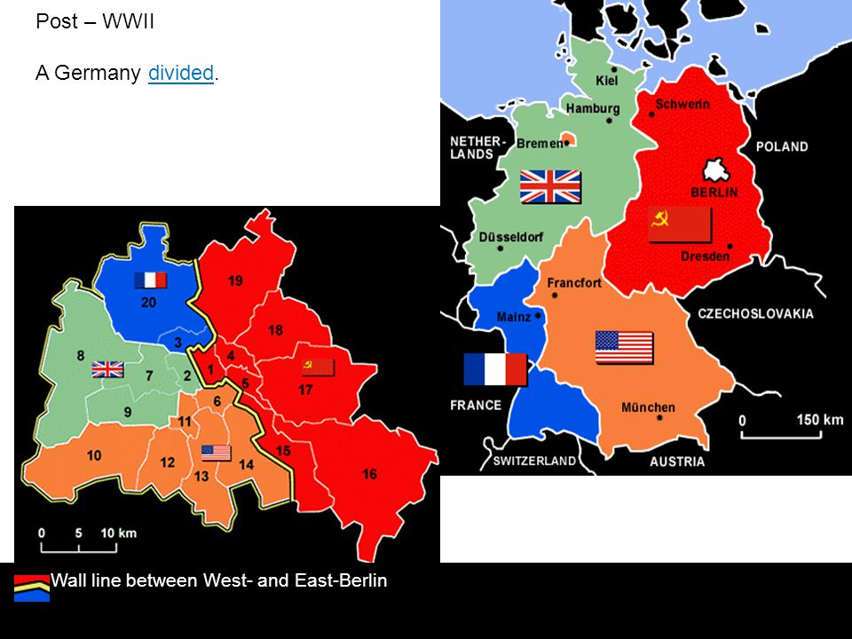 Post – WWII A Germany divided. Wall line between West- and East-Berlin
