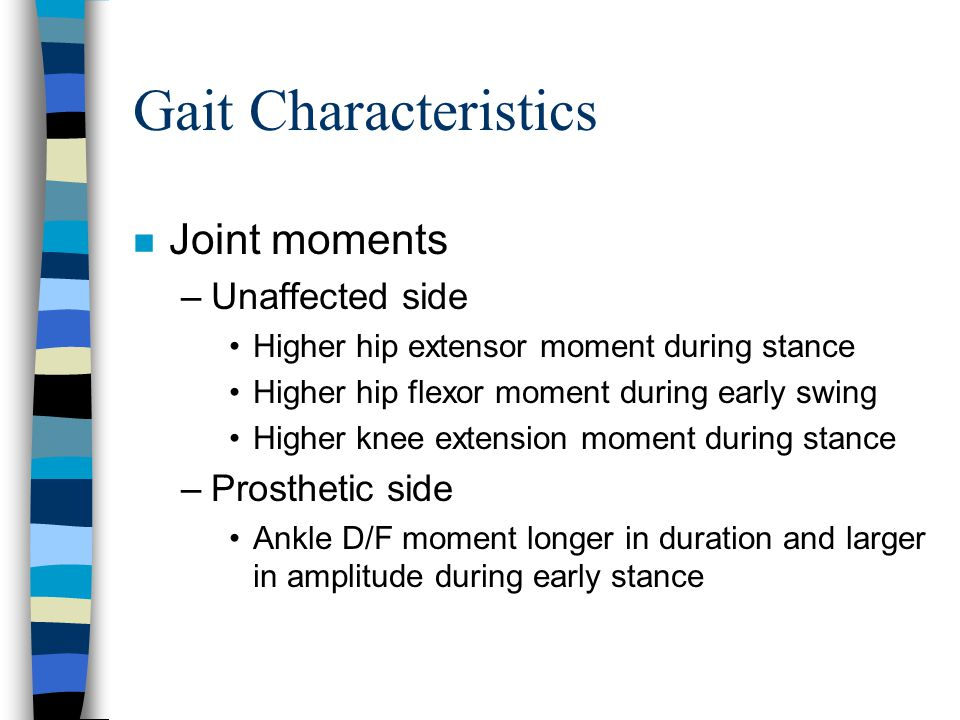 Gait Characteristics Joint moments Unaffected side Prosthetic side